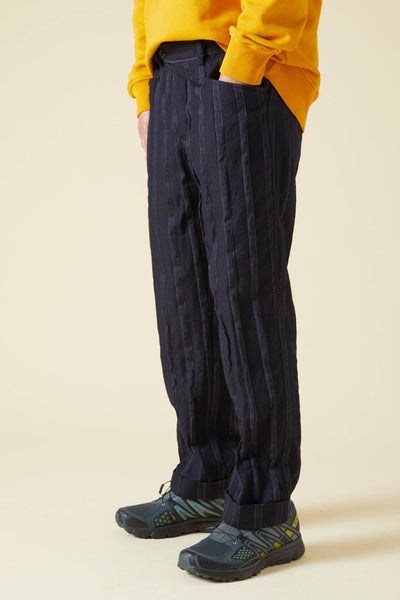 WOOL STRIPE L POCKET PANTS - NAVY