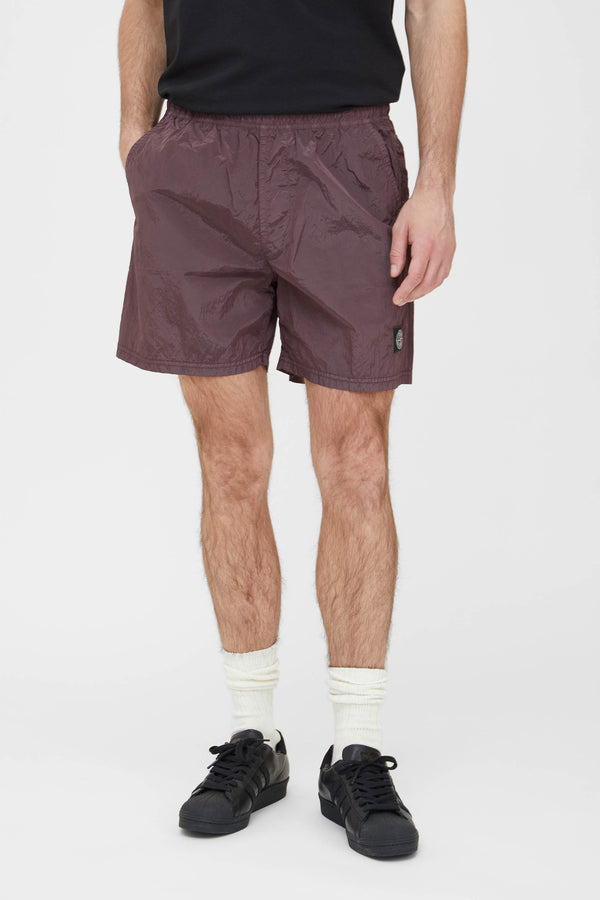 B0943 Nylon Metal Swim Trunks - Dark Burgundy