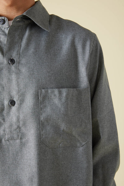 WOOLY TOUCH SERGE HEM STRING SHIRT - GRAY