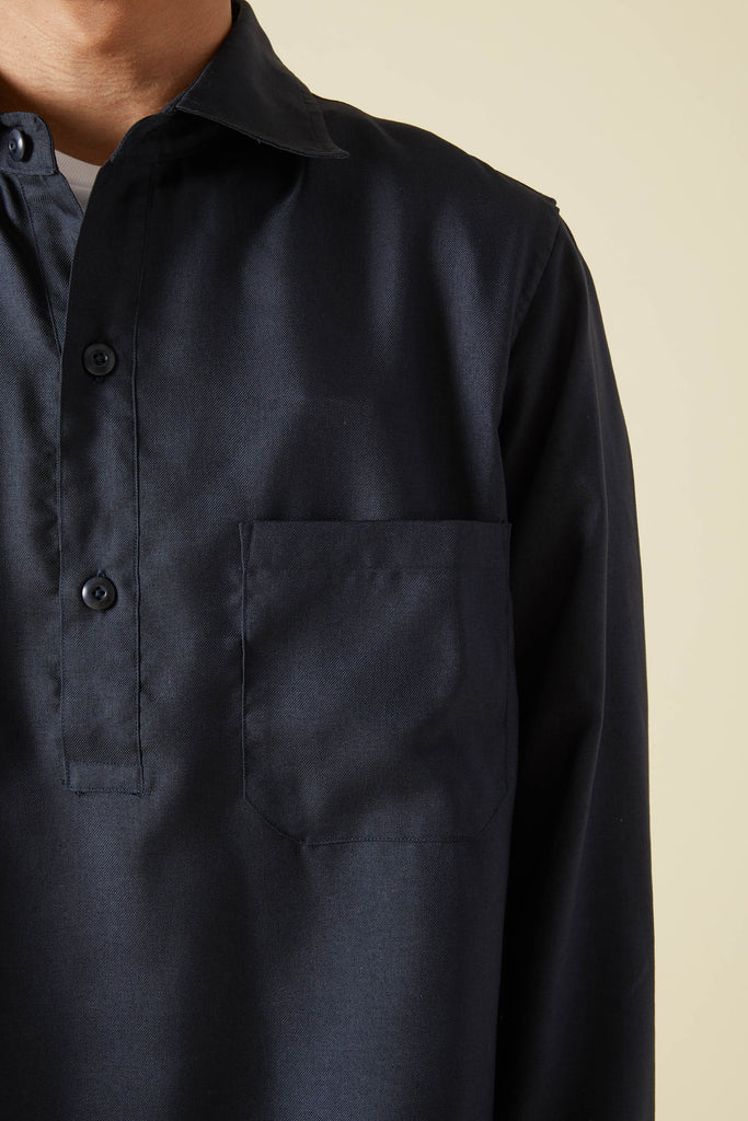WOOLY TOUCH SERGE HEM STRING SHIRT - NAVY