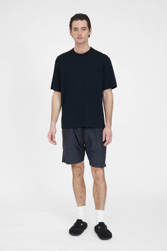Loose Fit Shorts - Charcoal Pinstripe Cotton Silk Micro Faille Cloth