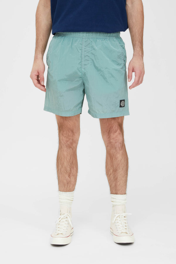 B0943 Nylon Metal Swim Trunks - Aqua