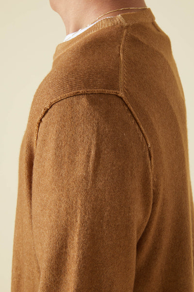 WOOL & CASHMERE CREW SWEATER - CAMEL