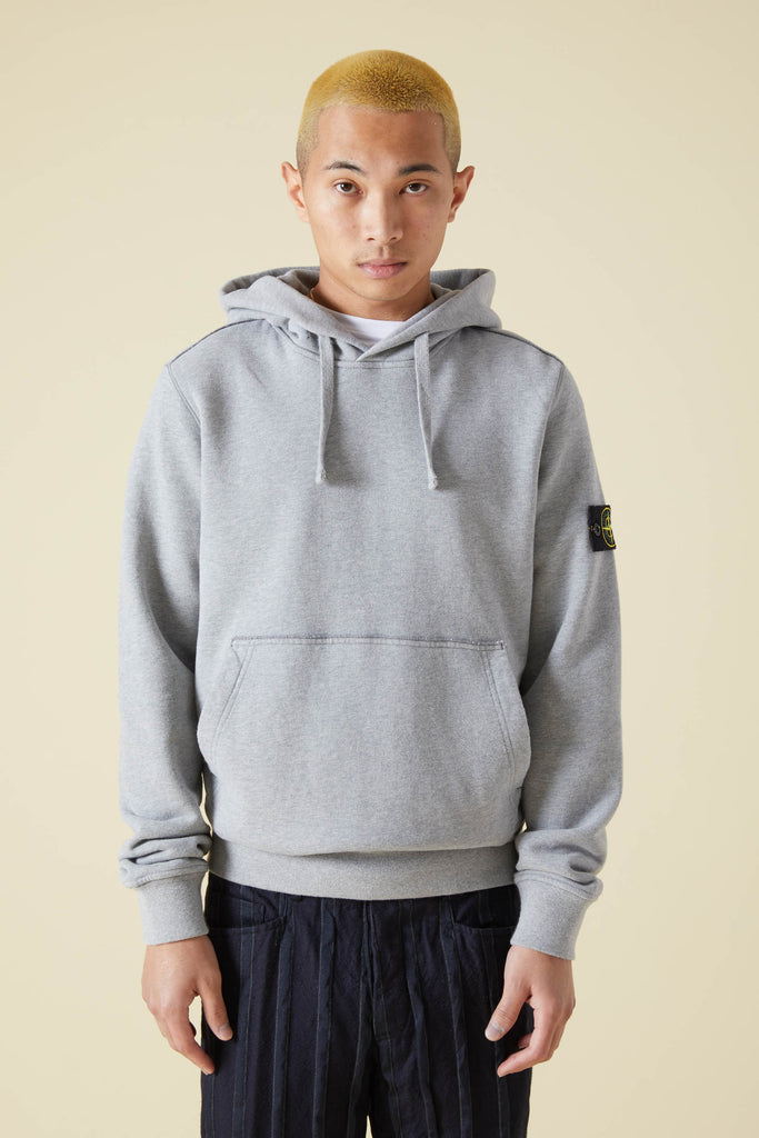 62820 BRUSHED COTTON FLEECE PULLOVER HOODIE - HEATHER GREY