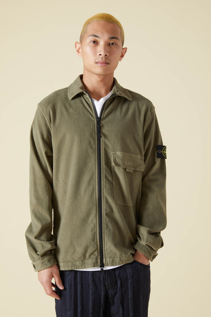 11502 STRETCH COTTON MOLESKIN OVERSHIRT - OLIVE