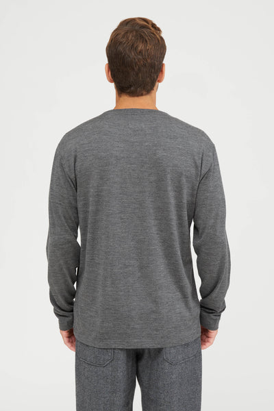 Washable High Gauge Wool Jersey Crew Neck Shirt - Gray