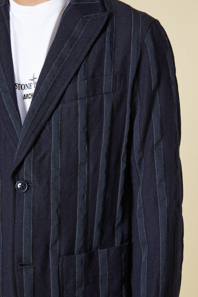 WOOL STRIPE 2B PEAK LAPEL JACKET - NAVY