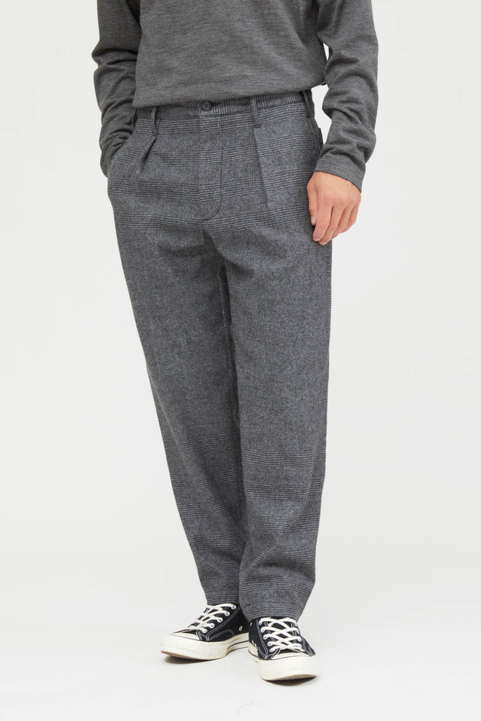 Carlyle Pant Wool Glen Plaid Stripe - Grey