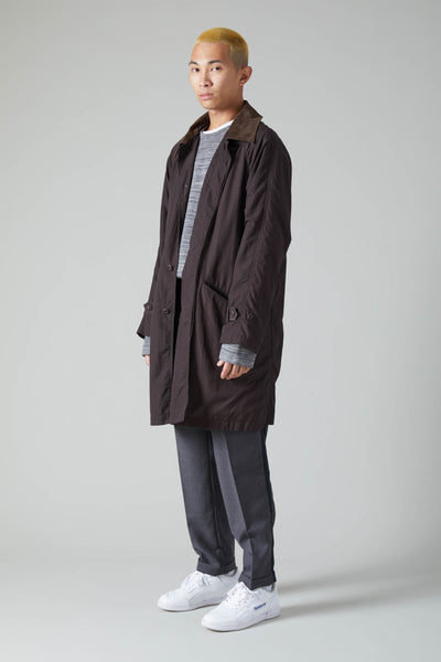 HONEYCOMB JACQUARD FLY FRONT RAGLAN COAT - BROWN