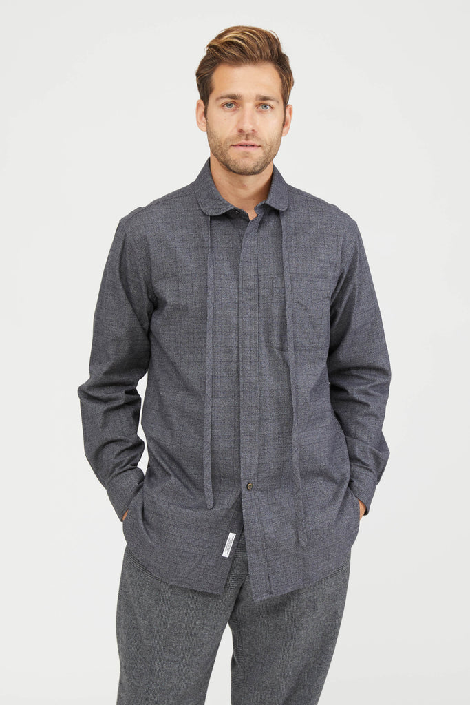 ROUNDED COLLAR SHIRT COTTON GLEN PLAID - GREY