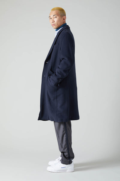 EXTRA SOFT WOOL NYLON DOUBLE CLOTH CHESTERFIELD COAT - NAVY