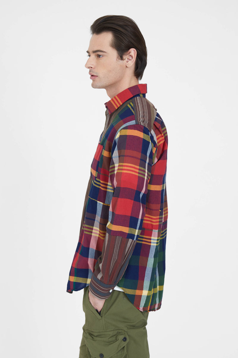 Combo Short Collar Shirt - Red Navy Cotton Big Madras Plaid