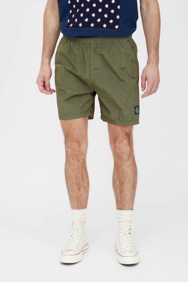 B0943 Nylon Metal Swim Trunks - Olive