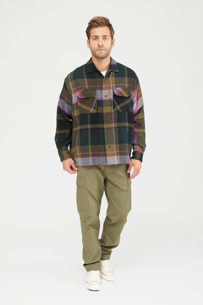 LARGE PITCH PLAID WOOL NYLON BAGGY SHIRT - GREEN