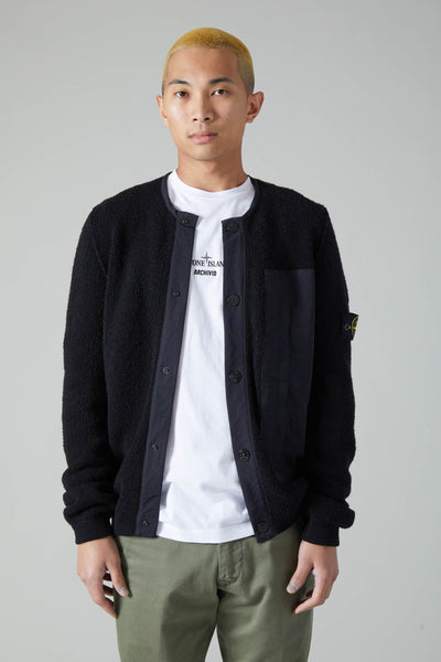 545B3 PURE COTTON TERRY STITCH CARDIGAN - BLACK