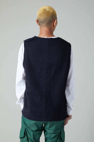 DOBBY CLOTH BOA LINED BUTTON SHOULDER VEST - NAVY