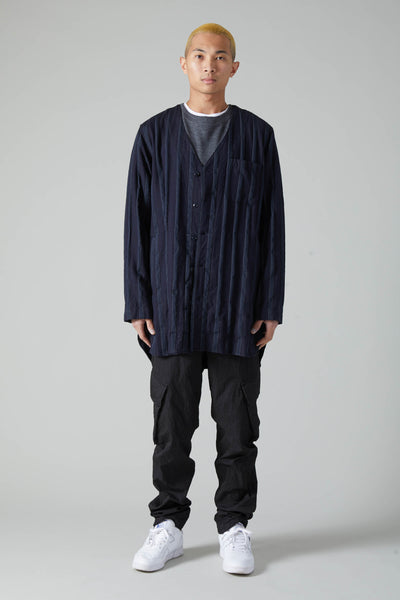 WOOL STRIPE LONG CARDIGAN SHIRT - NAVY