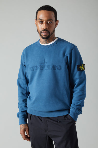 63420 BRUSHED COTTON FLEECE LOGO SWEATSHIRT - DARK BLUE