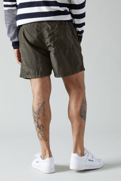 B0643 NYLON METAL SWIM TRUNKS - MILITARY GREEN