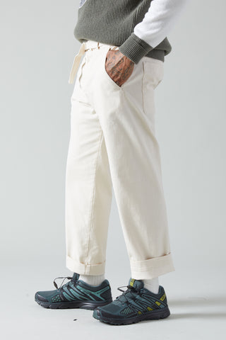 BRAGOTTO TRATO BELTED CANVAS TROUSER - AVORIO NATURAL