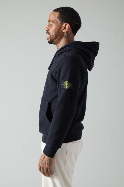 62820 BRUSHED COTTON FLEECE PULLOVER HOODIE - BLACK