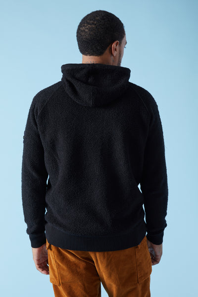 591C5 PURE COTTON TERRY STITCH HOODY - BLACK