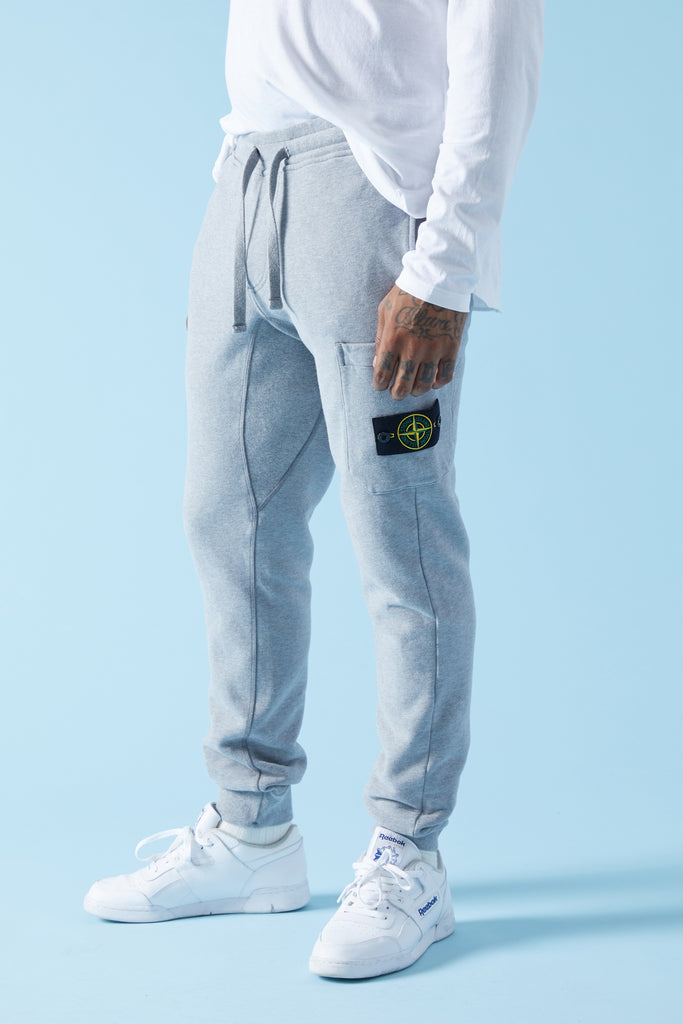 60320 BRUSHED COTTON FLEECE SWEATPANTS - HEATHER GREY