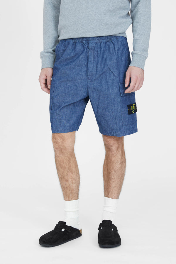 L1407 Chambray Wash Shorts - Blue