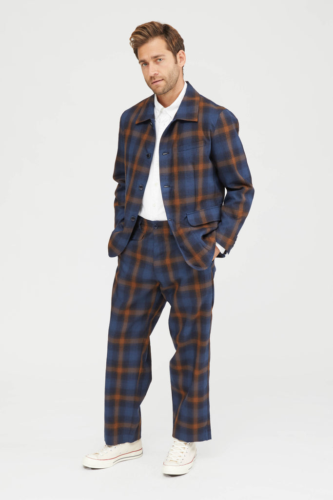 Ombre Plaid Wool Natural Tapered Pants - Navy