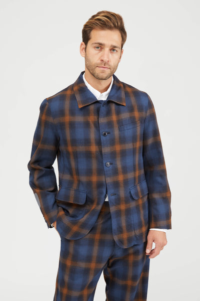 Ombre Plaid Wool Shirt Collar Jacket - Navy