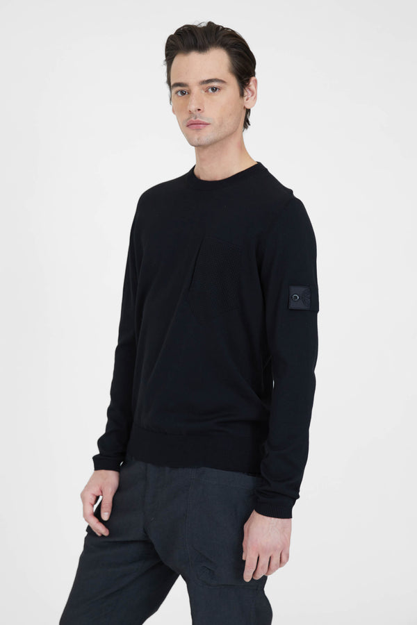 506A4 Cotton Silk Gauge 14 Catch Pocket Crew Neck - Black
