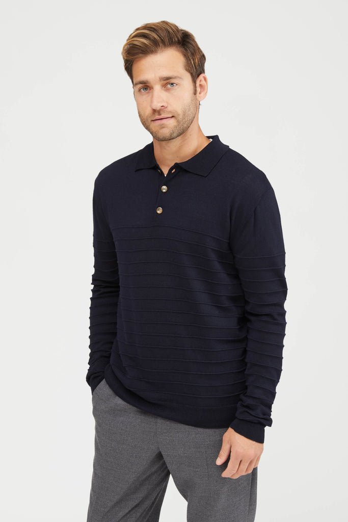 Gabier Bordado Knit Polo Sweater - Navy