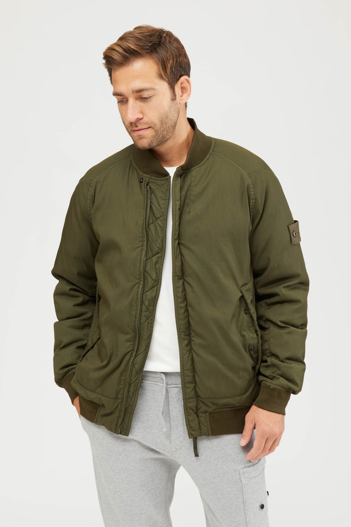 439F2 STRETCH WOOL NYLON-TC DOWN GHOST PIECE BOMBER JACKET - MILITARY GREEN