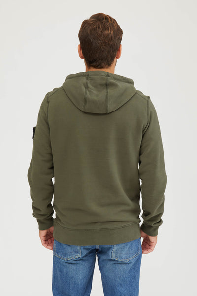 64120 Felpa Cotone Smerigliata Fleece Hooded Sweatshirt - Musk