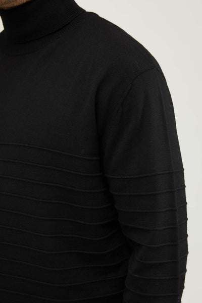 AMI BORDADO KNIT TURTLE NECK SWEATER - NERO