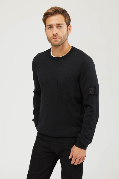 505A4 SHADOW PROJECT WOOL SILK KNIT SWEATER - BLACK