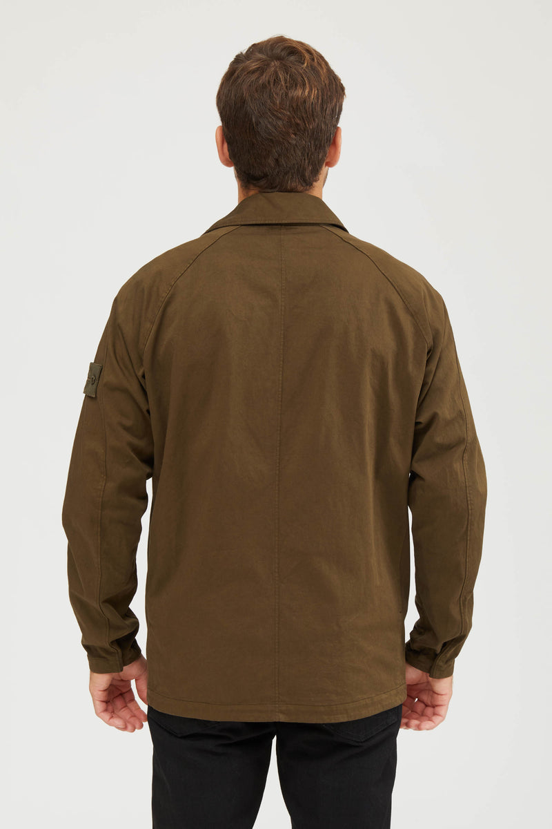 116F4 Raso Cotone Lana Stretch Ghost Overshirt - Military Green