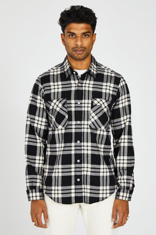 VESPA SOFLANNA CHECK SHIRT - BLACK