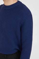 Crew Neck P's Cotton Punto Links - Navy