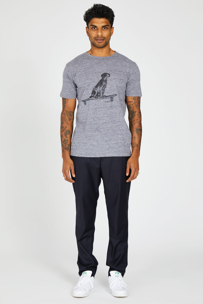 CREW NECK TSHIRT DOG - GREY MELANGE