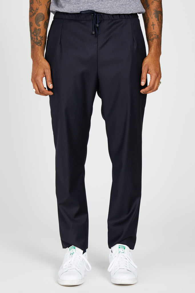 LORO PIANA SUPERFINE WOOL TRAVEL TROUSER - BLUE NAVY