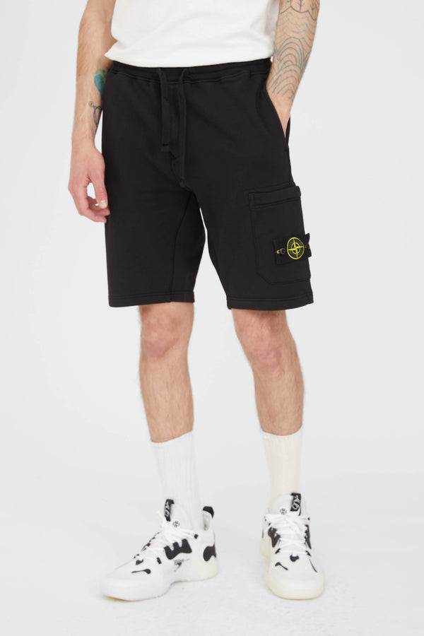 64651 Cotton Fleece Garment Dyed Bermuda Shorts - Black