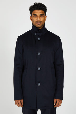 CASHMERE WATER RESISTANT COAT - MIDNIGHT NAVY