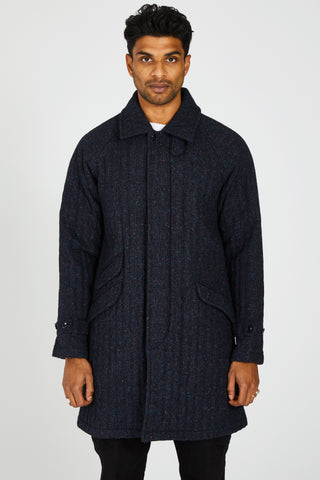 WOOL COLOR NEP TWEED QUILTED FLY FRONT COAT - NAVY