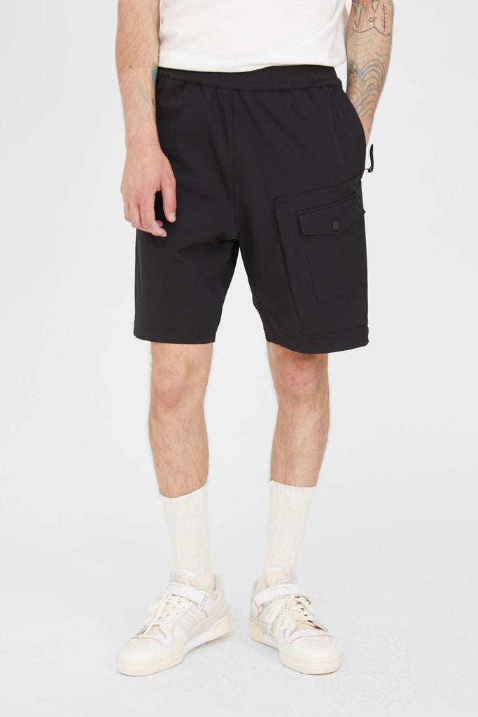 L15X4 MARINA Two Way Stretch Recycled Nylon Twill Cargo Shorts - Black