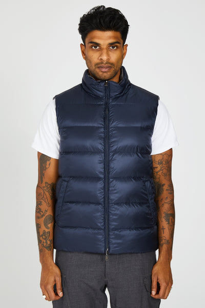 SILK CASHMERE REVERSIBLE DOWN VEST - GREY/NAVY