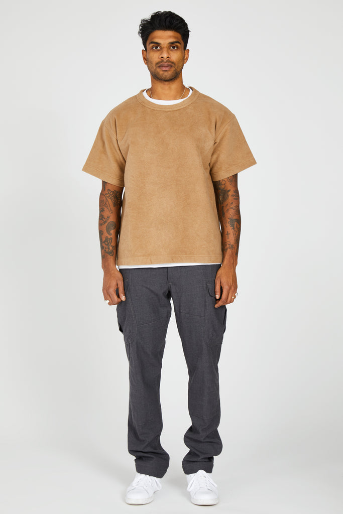 HEAVY COTTON FLEECE S/S SHIRT - BEIGE