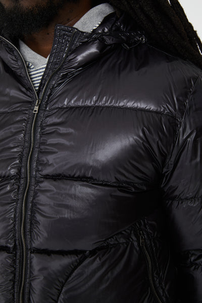 HOODED DOWN PUFFER JACKET - BLACK