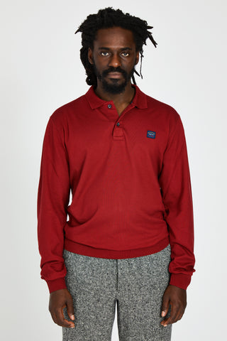 ORGANIC COTTON PIQUE POLO KNIT HEM - RED