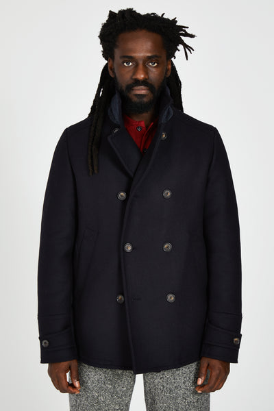 WOOL & CASHMERE PEACOAT - NAVY